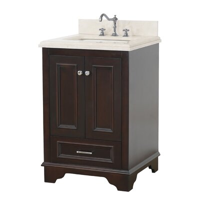 Nantucket 24 Single Bathroom Vanity Set Top Finish: Crema Marfil, Base Finish: Chocolate
