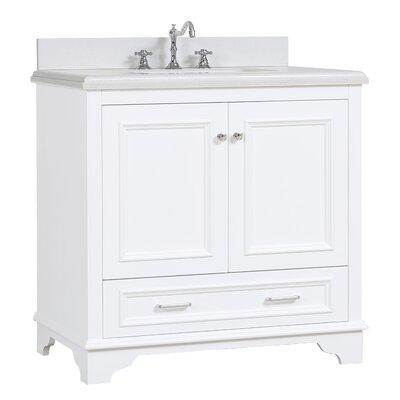 Nantucket 36 Single Bathroom Vanity Set Base Finish: White, Top Finish: Quartz
