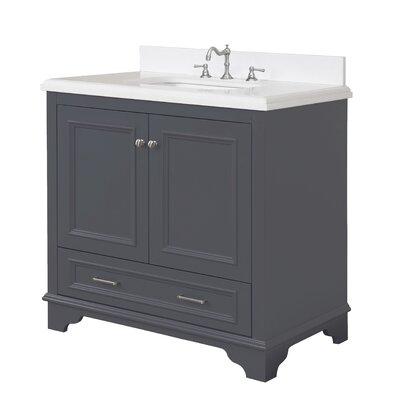 Nantucket 36 Single Bathroom Vanity Set Base Finish: Charcoal Gray, Top Finish: Quartz