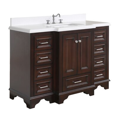 Nantucket 48 Single Bathroom Vanity Set Base Finish: Chocolate, Top Finish: Quartz