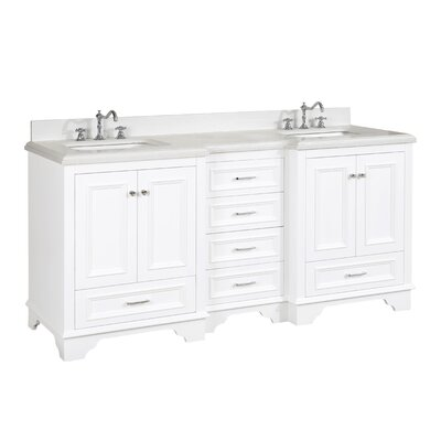 Nantucket 72 Double Bathroom Vanity Set Top Finish: Quartz, Base Finish: White