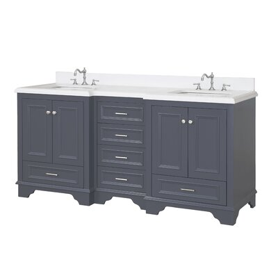 Nantucket 72 Double Bathroom Vanity Set Top Finish: Quartz