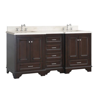 Nantucket 72 Double Bathroom Vanity Set Top Finish: Crema Marfil, Base Finish: Chocolate
