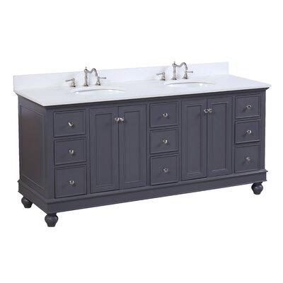 Bella 72 Double Bathroom Vanity Set Base Finish: Charcoal gray, Top Finish: Quartz