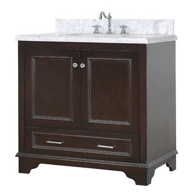 Nantucket 36 Single Bathroom Vanity Set Base Finish: Chocolate, Top Finish: Carrara Marble