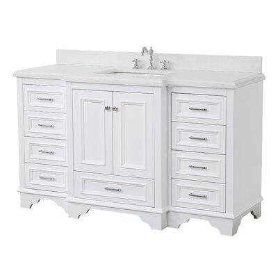 Nantucket 60 Single Bathroom Vanity Set Base Finish: White, Top Finish: Quartz