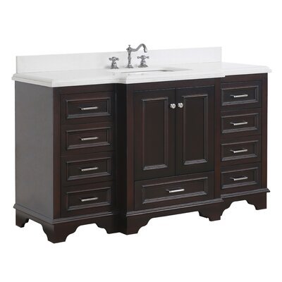 Nantucket 60 Single Bathroom Vanity Set Base Finish: Chocolate, Top Finish: Quartz