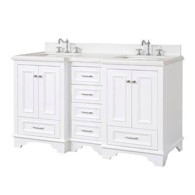 Nantucket 60 Double Bathroom Vanity Set Base Finish: Chocolate, Top Finish: Carrara Marble