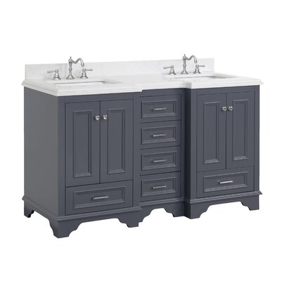 Nantucket 60 Double Sink Bathroom Vanity Set Top Finish: Quartz