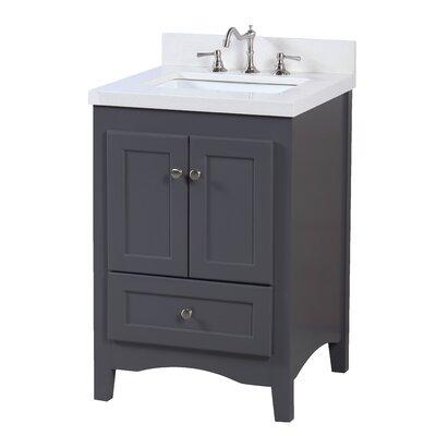 Abbey 24 Single Bathroom Vanity Set Base Finish: Charcoal Gray, Top Finish: Quartz