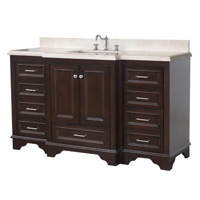 Nantucket 60 Single Bathroom Vanity Set Base Finish: Chocolate, Top Finish: Crema Marfil