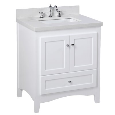 Abbey 30 Single Bathroom Vanity Set Top Finish: Quartz, Base Finish: White