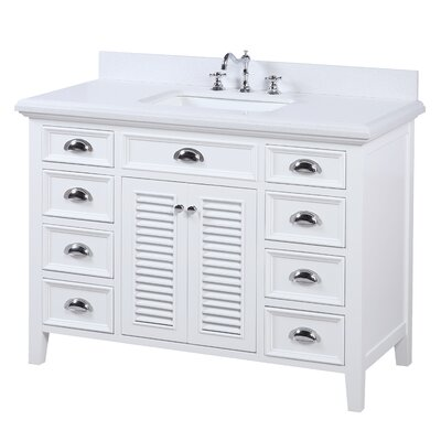 Savannah 48 Single Bathroom Vanity Set Base Finish: White, Top Finish: Quartz