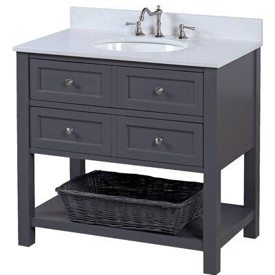 New Yorker 36 Single Bathroom Vanity Set Top Finish: Quartz