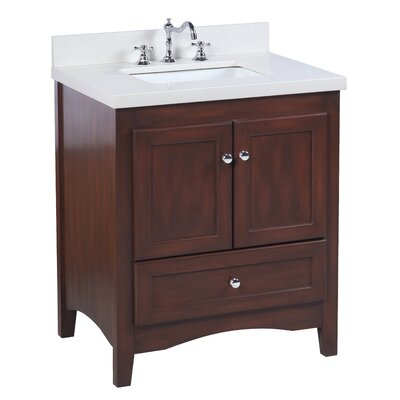 Abbey 30 Single Bathroom Vanity Set Top Finish: Quartz, Base Finish: Chocolate