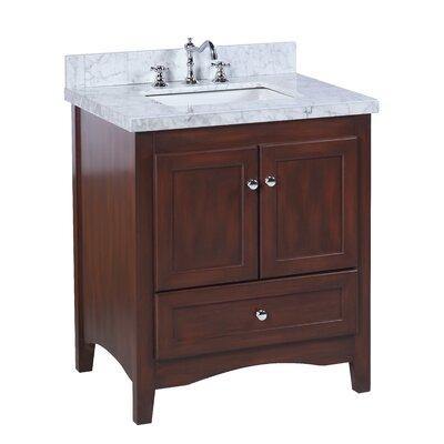Abbey 30 Single Bathroom Vanity Set Top Finish: Carrara Marble, Base Finish: Chocolate