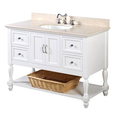 Beverly 48 Single Bathroom Vanity Set Base Finish: White, Top Finish: Crema Marfil