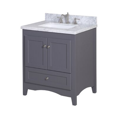 Abbey 30 Single Bathroom Vanity Set Base Finish: Charcoal Gray, Top Finish: Carrara Marble