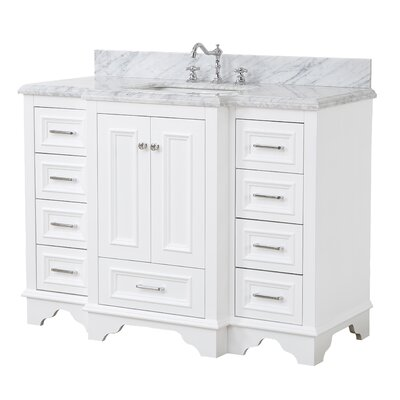 Nantucket 48 Single Bathroom Vanity Set Base Finish: White, Top Finish: Carrara Marble