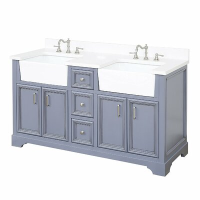 Zelda 60 Double Bathroom Vanity Set Base Finish: Powder Grey