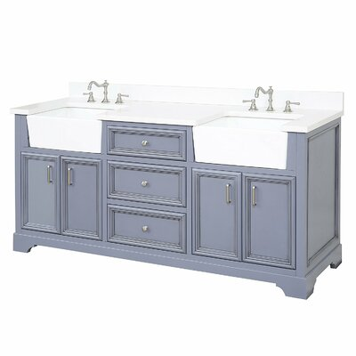 Zelda 72 Double Bathroom Vanity Set Base Finish: Powder Grey