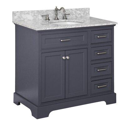 Aria 36 Single Bathroom Vanity Set Base Finish: Charcoal Gray, Top Finish: Carrara Marble