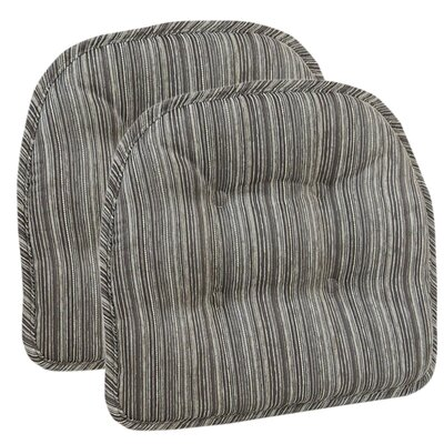 Striped Dining Chair Cushion Color: Brown