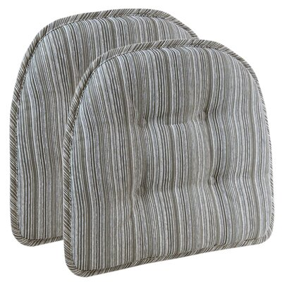 Striped Dining Chair Cushion Color: Taupe