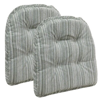 Striped Dining Chair Cushion Color: Celadon