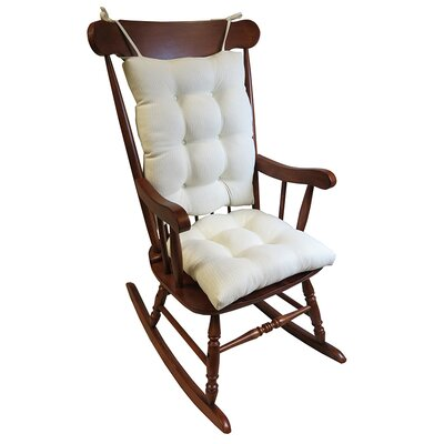 2 Piece Rocking Chair Cushion Color: Ivory