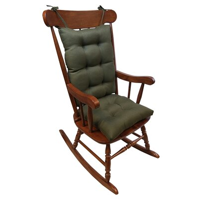 2 Piece Rocking Chair Cushion Color: Evergreen