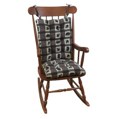 Lodge Animal Plaid Gripper Jumbo Rocking Chair Cushion