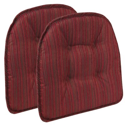 Striped Dining Chair Cushion Color: Red