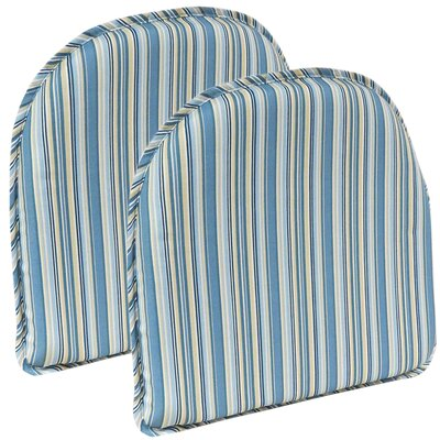 Cottage Stripe Chair Cushion Color: Blue