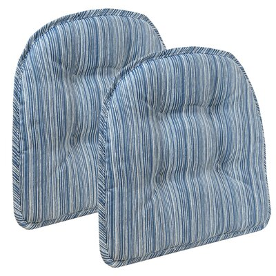 Striped Dining Chair Cushion Color: Blue
