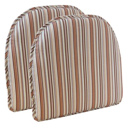 Cottage Stripe Chair Cushion Color: Brown