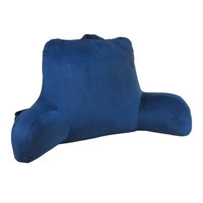 Plush Velour Bed Rest Pillow Color: Navy