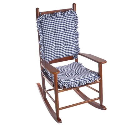 Gingham 2 Piece Ruffle Delightfill Rocking Chair Cushion Set Fabric: Navy