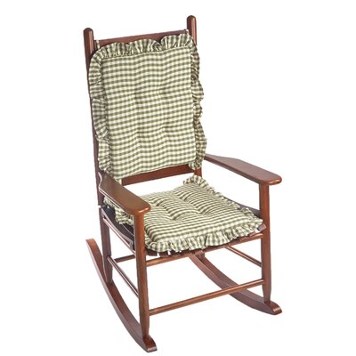 Gingham 2 Piece Ruffle Delightfill Rocking Chair Cushion Set Fabric: Pine