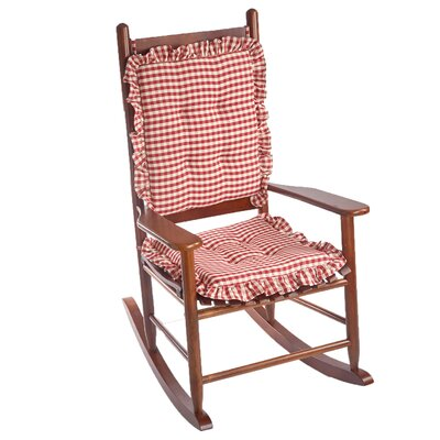 Gingham 2 Piece Ruffle Delightfill Rocking Chair Cushion Set Fabric: Red