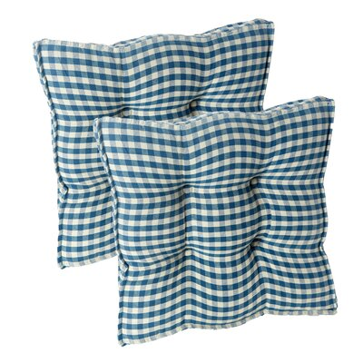 Gingham Square Universal Chair Cushion with Grip Dot Fabric: Blue