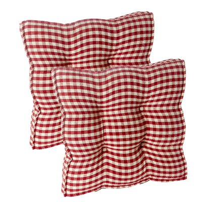 Gingham Square Universal Chair Cushion with Grip Dot Fabric: Red