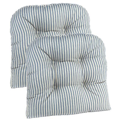 Gripper Universal Dining Chair Cushion Fabric: Blue