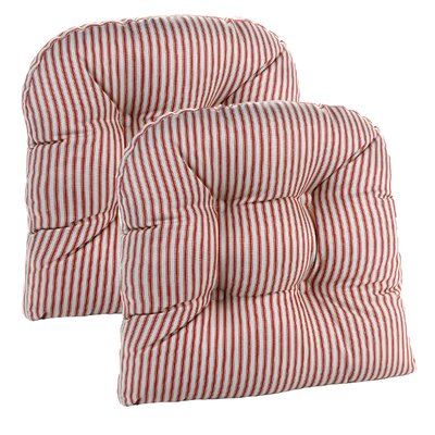 Gripper Universal Dining Chair Cushion Fabric: Red