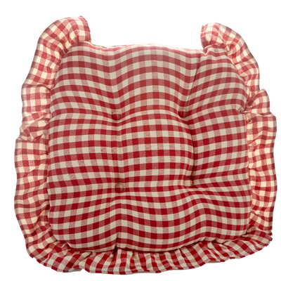 Ruffle Universal Dining Chair Cushion Fabric: Red