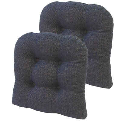 Tyson Universal Gripper Dining Chair Cushion Fabric: Navy