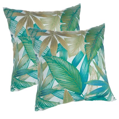 Tropical Leaves Print Decorative Indoor/Outdoor Throw Pillow