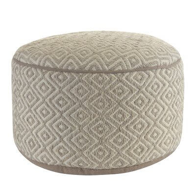 Cathi Diamond Wool Pouf Round Ottoman