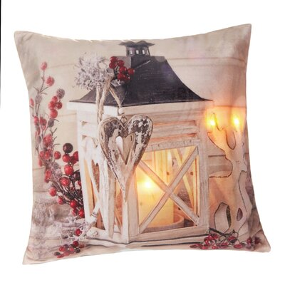 Lanterns Glow LED Holiday Light Up Throw Pillow