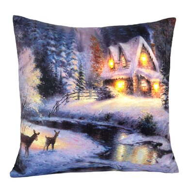 Cabin LED Holiday Light Up Throw Pillow